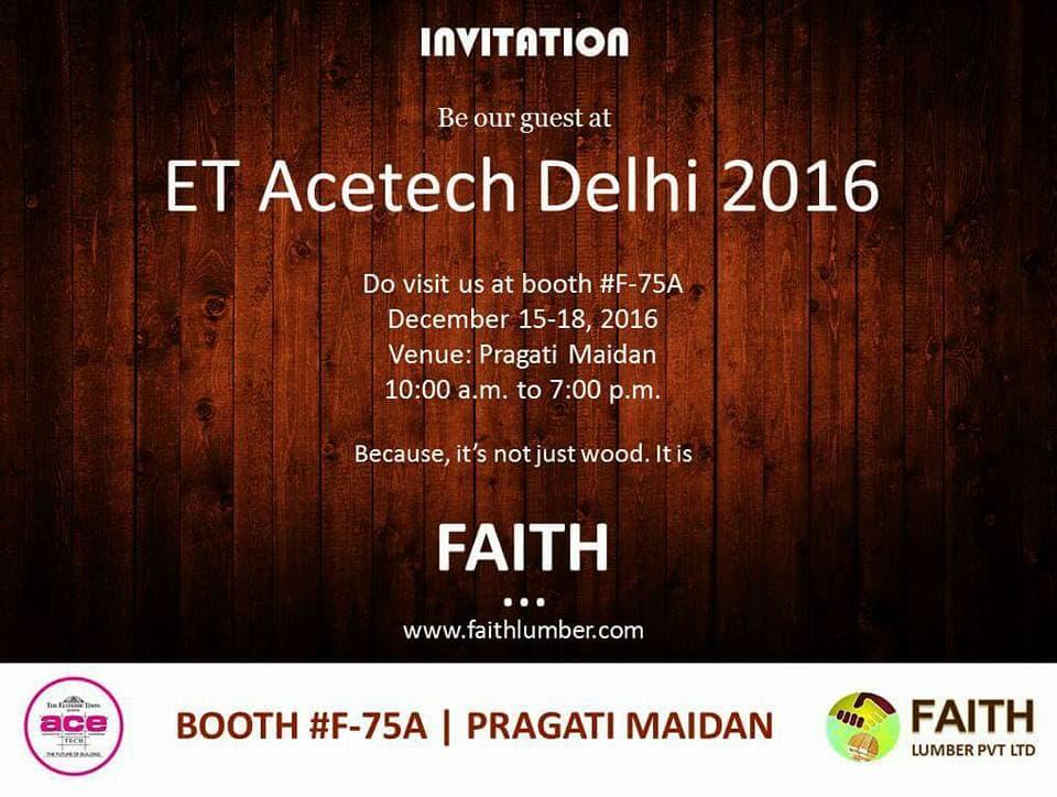 Faith Lumber to participate in ET Acetech Delhi 2016