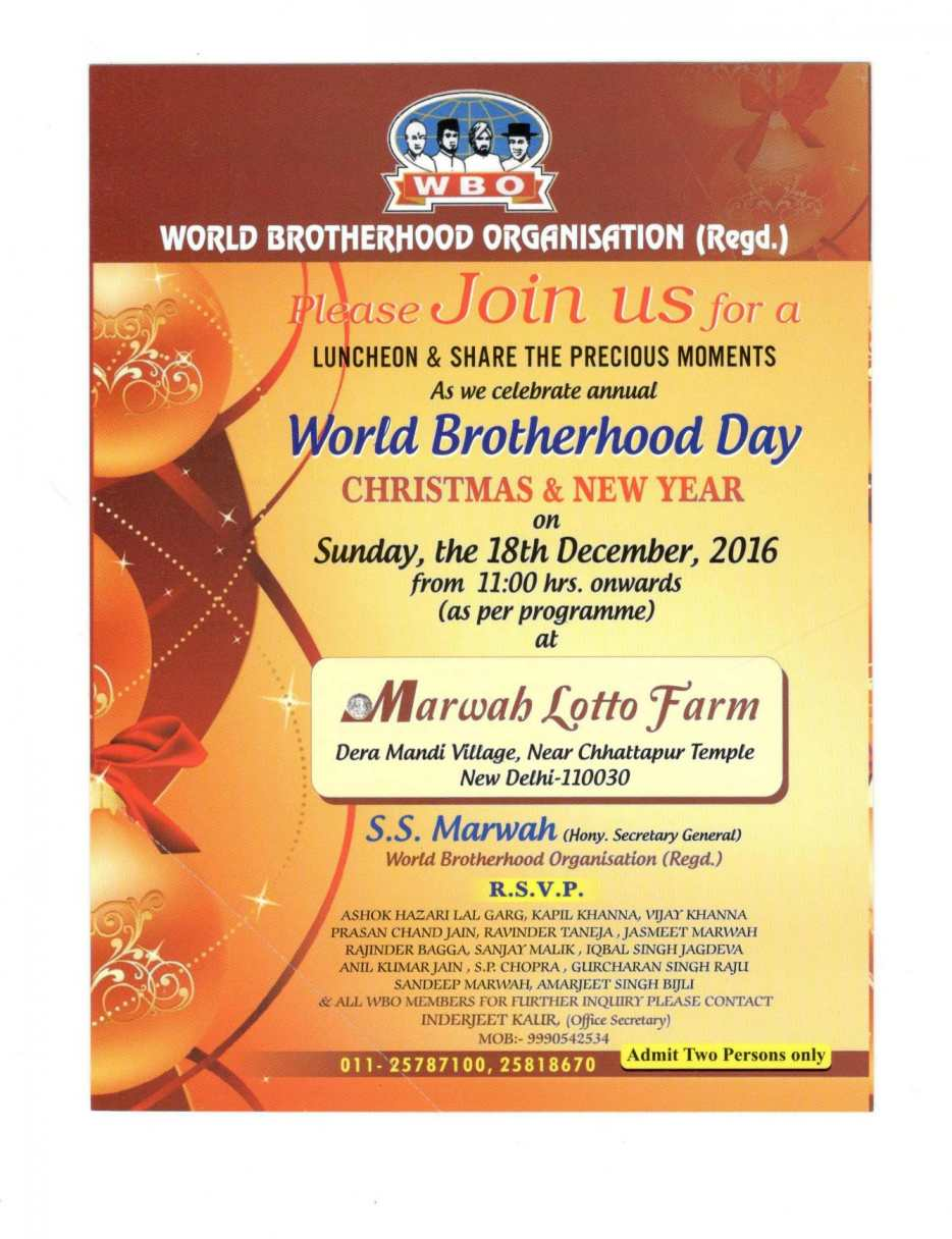 World Brotherhood Day Will Be Celebrated on December 18th