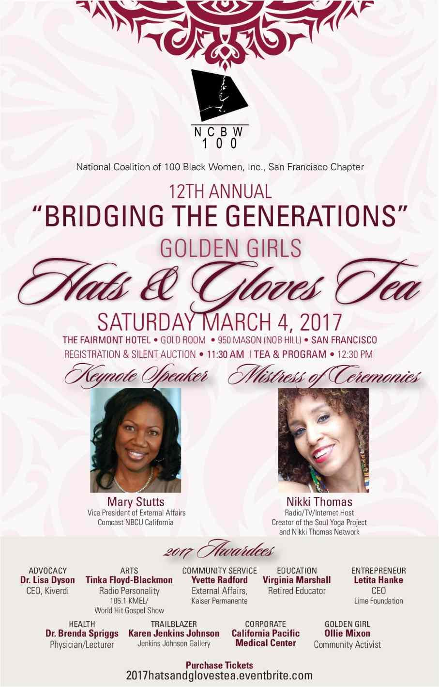 SF National Coalition of 100 Black Women Golden Girls Hats & Gloves Tea for Jobs, Advocacy & More