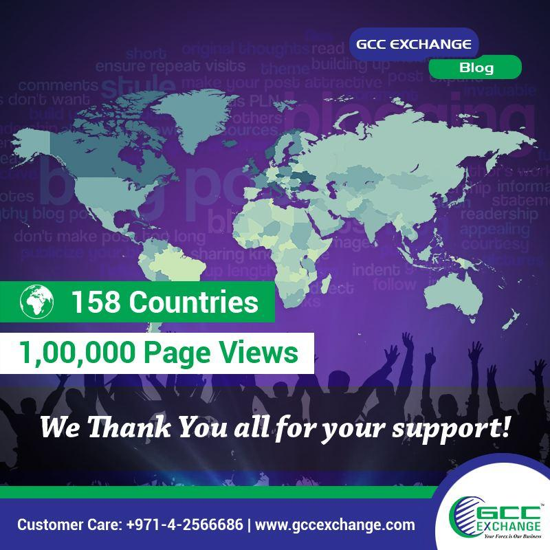 GCC Exchange Blog Crosses whopping 1,00,000 Page Views
