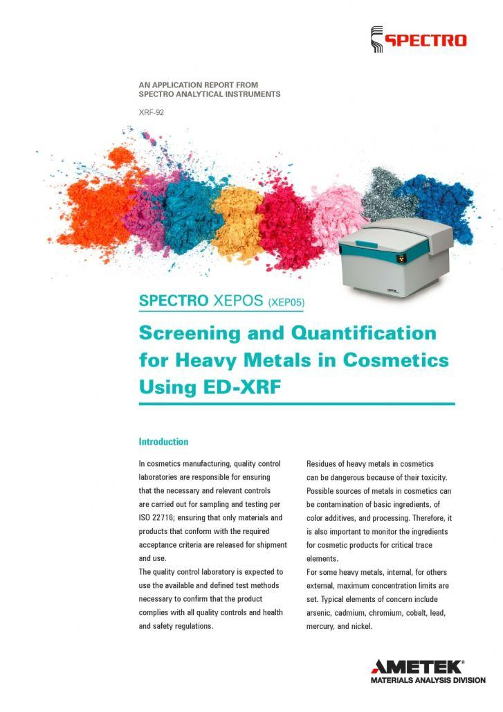 Screening & Quantification for Heavy Metals in Cosmetics Using ED-XRF Analyzers is Detailed