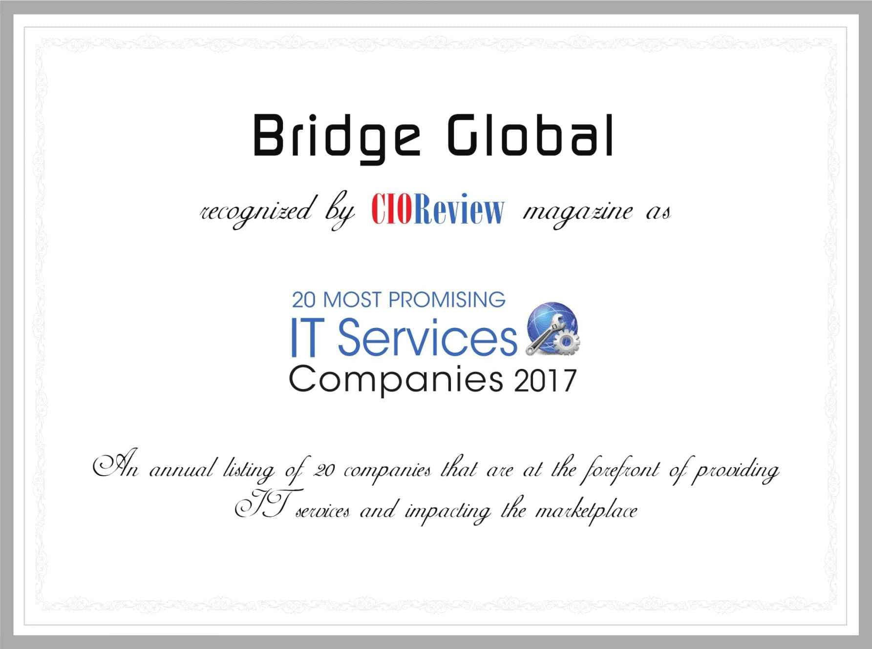 Bridge Global Recognized by CIOReview magazine among 20 most promising IT services companies 2017
