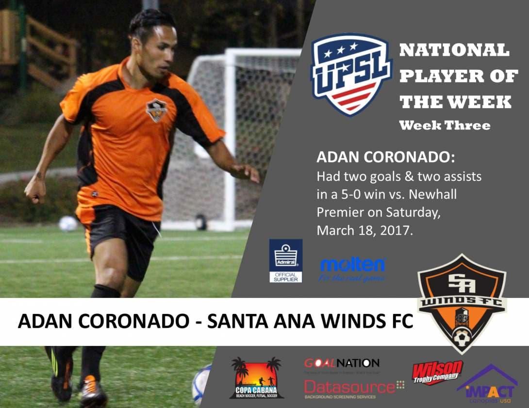 NATIONAL PLAYER OF THE WEEK: Santa Ana Winds FC's Adan Coronado