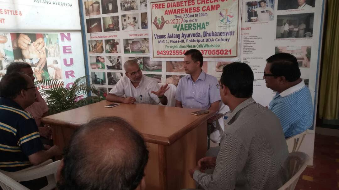 A Free Diabetes Check up & Awareness Camp was held at Astang Ayurveda by VAERSHA