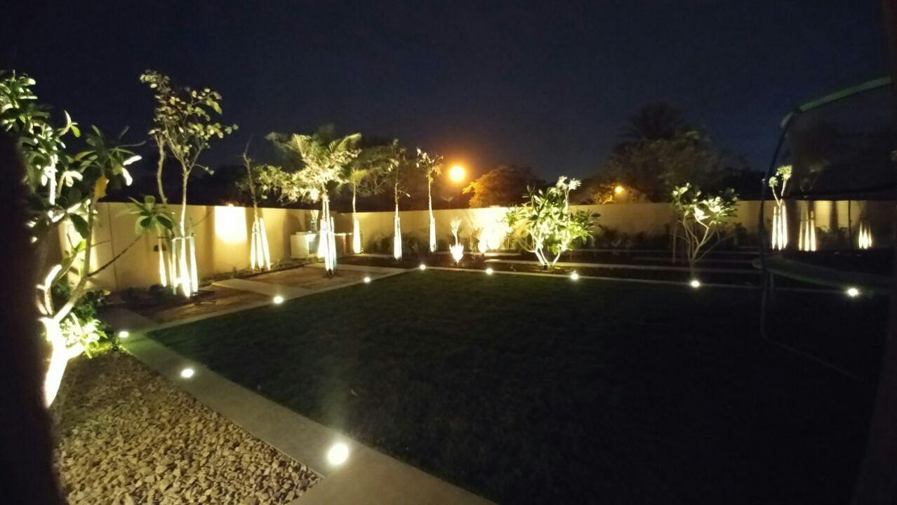 aesthetic landscape lighting at villa located in posh land of