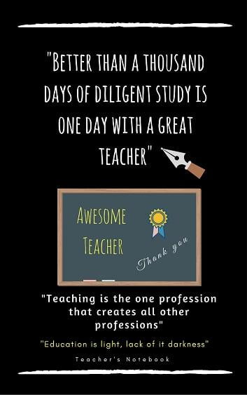 Awesome Teacher Notebook Journal with Quotes