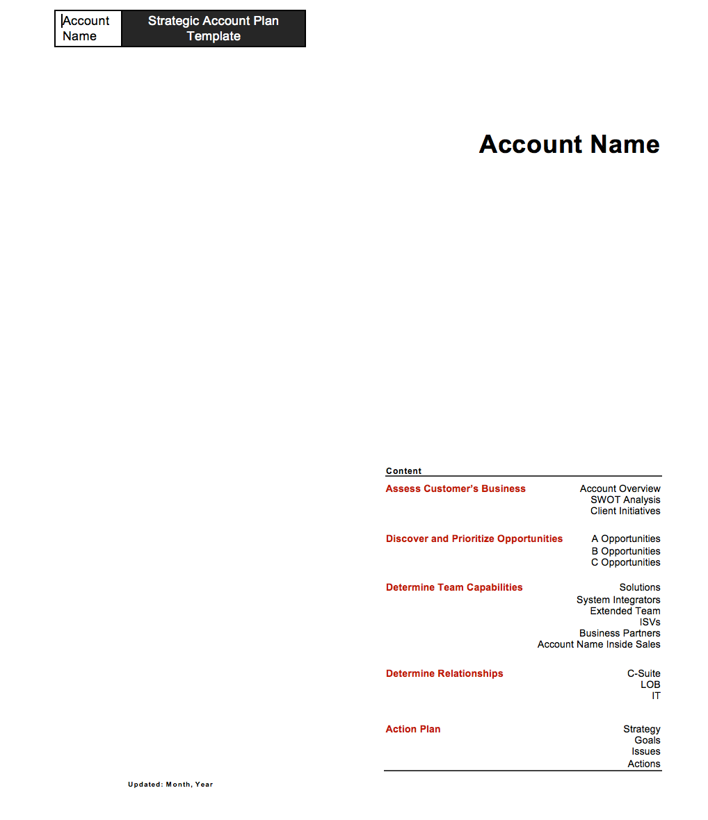 Strategic Account Plan Template for B2B Sales Released by Four Quadrant