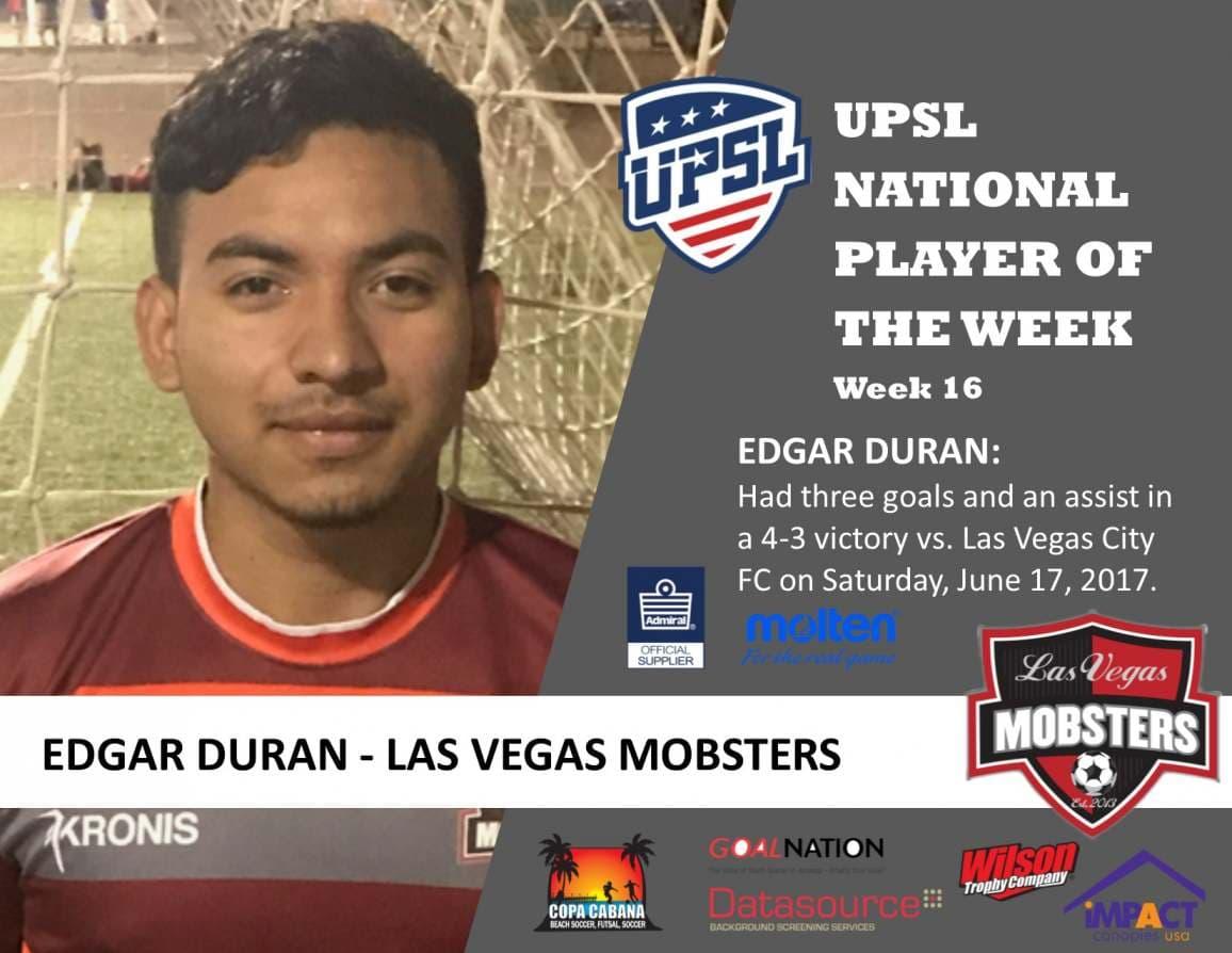 UPSL National Player Of The Week: Las Vegas Mobsters' Edgar Duran
