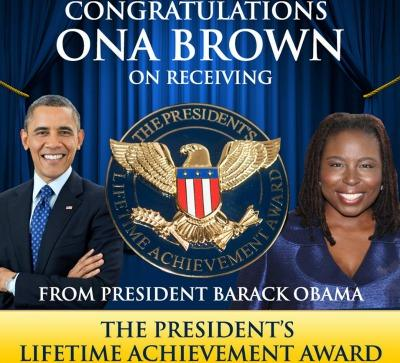 Ona Brown honored with a President Barack Obama Lifetime Achievement Award