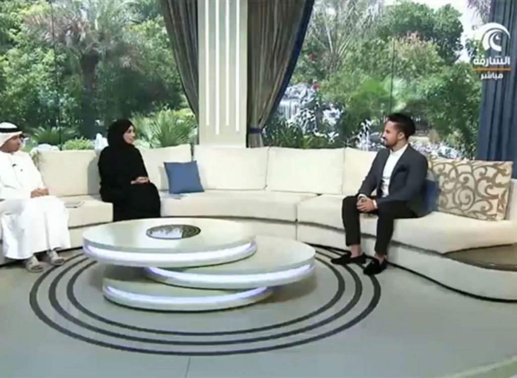 Engineer Tareq Skaik, the head of design department of AlGedra interview with the Sharjah TV channel