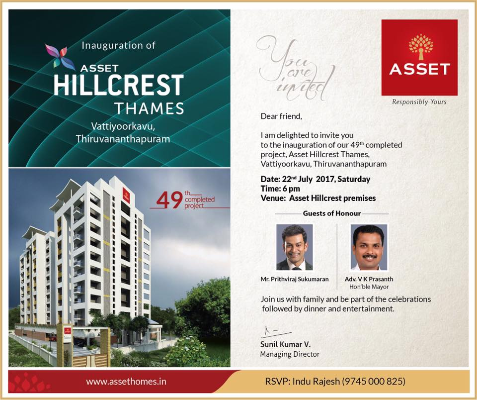Grand Inauguration of  ASSET HILLCREST Thames, Vattiyoorkavu Thiruvananthapuram