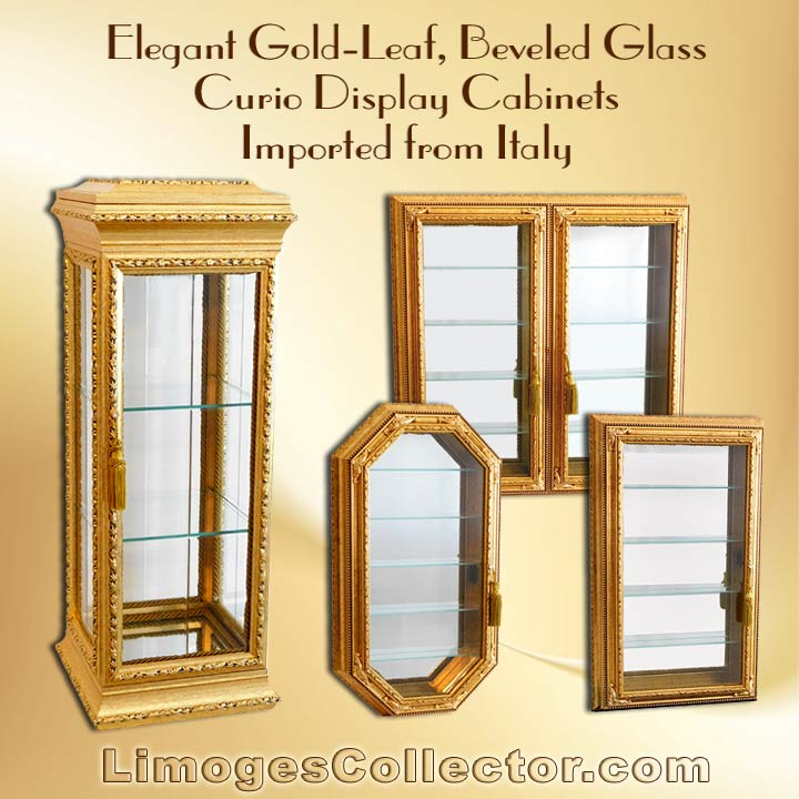 Italian Gold Leaf Beveled Glass Curio Display Cabinets Arrive At  LimogesCollector.com
