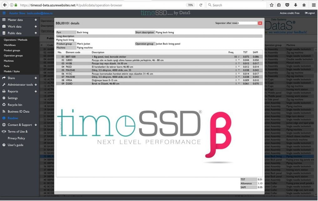 timeSSD BETA VERSION RELEASE timeSSD is a web based predetermined motion time software with integrat