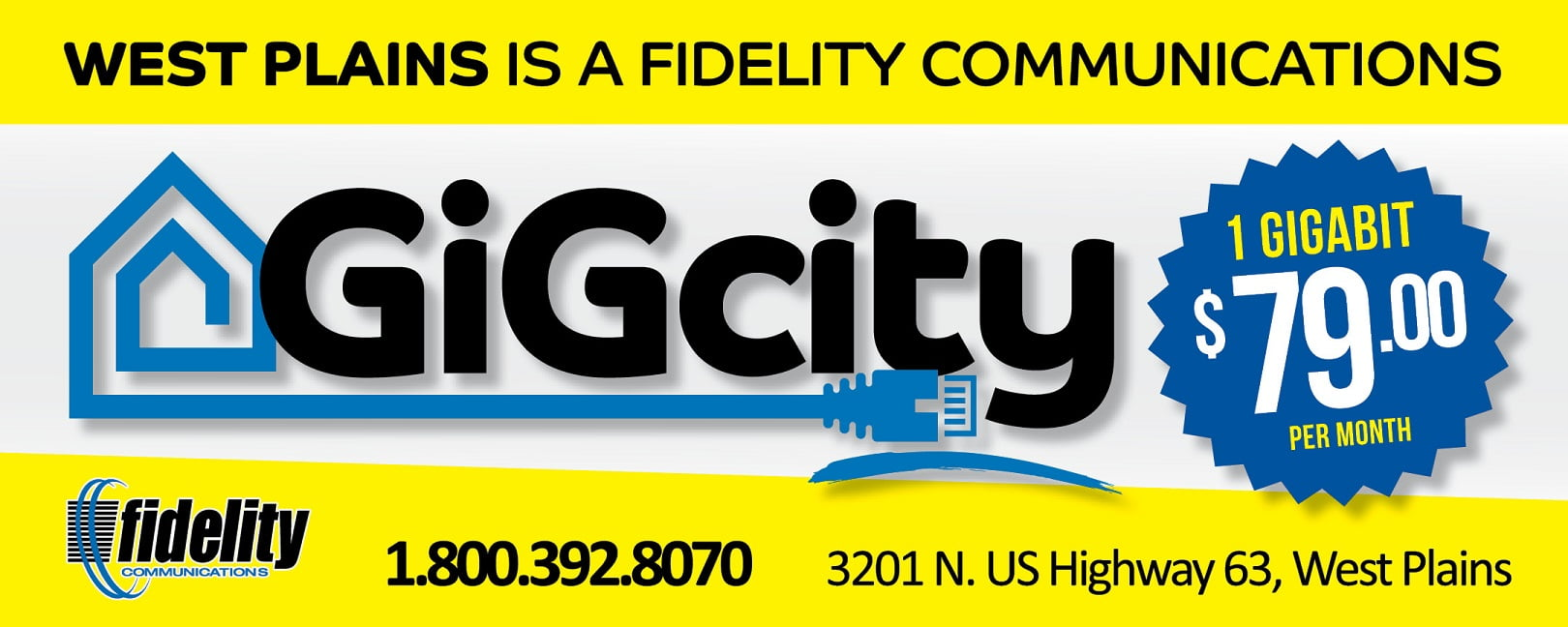 Fidelity Communications Now Offering 1 Gig Internet in West Plains