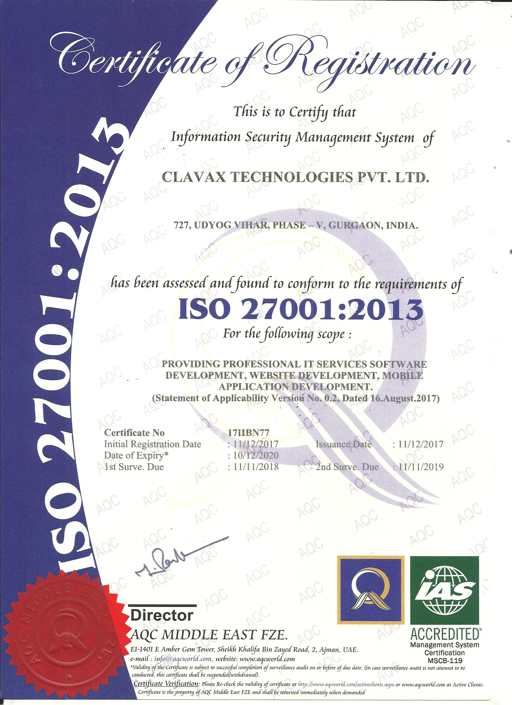 Clavax is awarded ISO 27001:2013 security accreditation