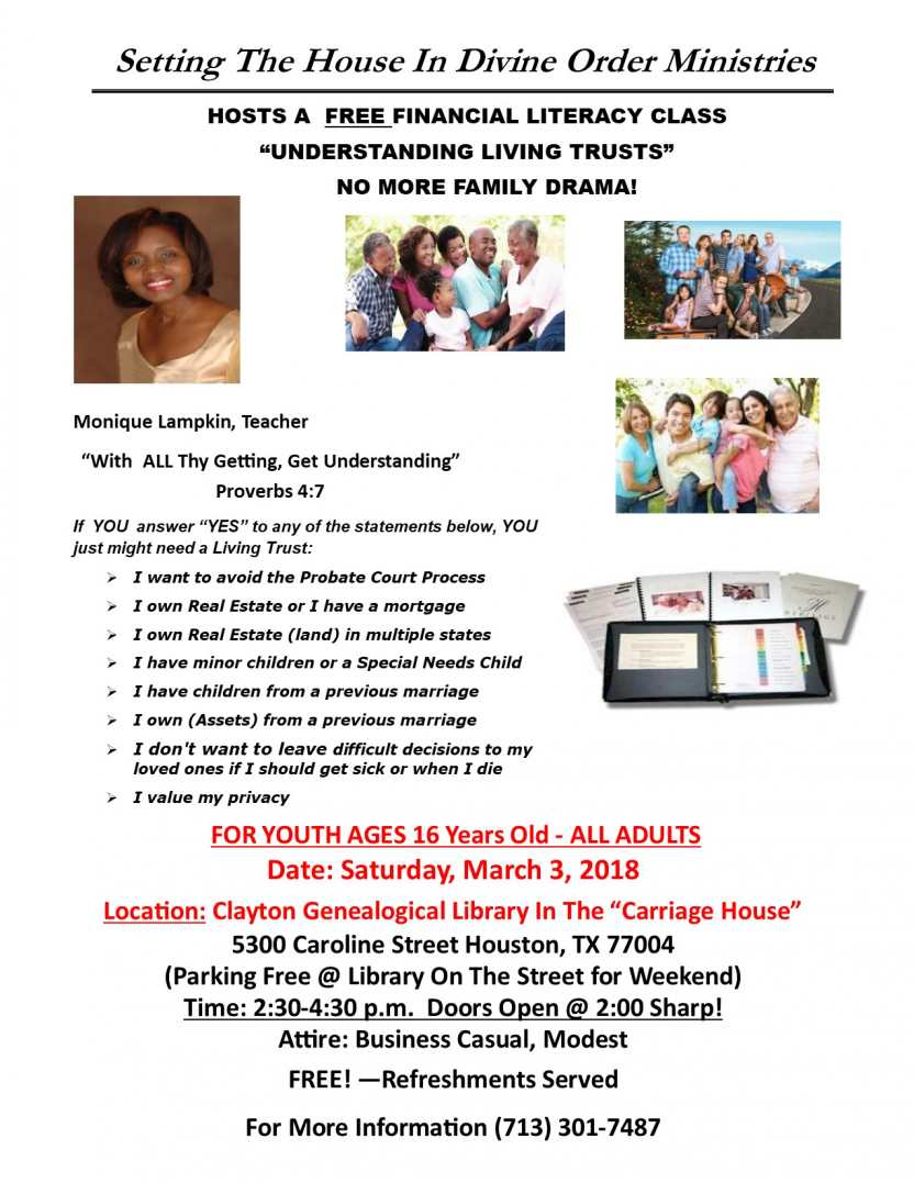 Setting The House In Divine Order Ministries Hosts A Financial Literacy Class