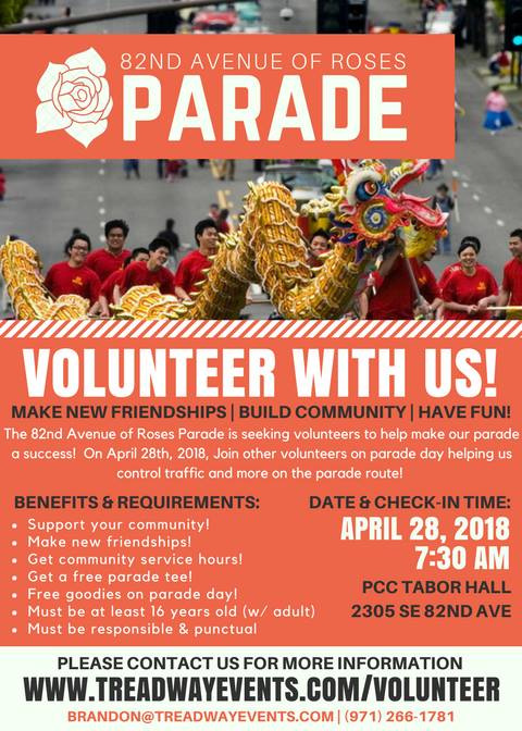 11TH Annual 82nd Avenue of Roses Parade Returns April 28th, 2018