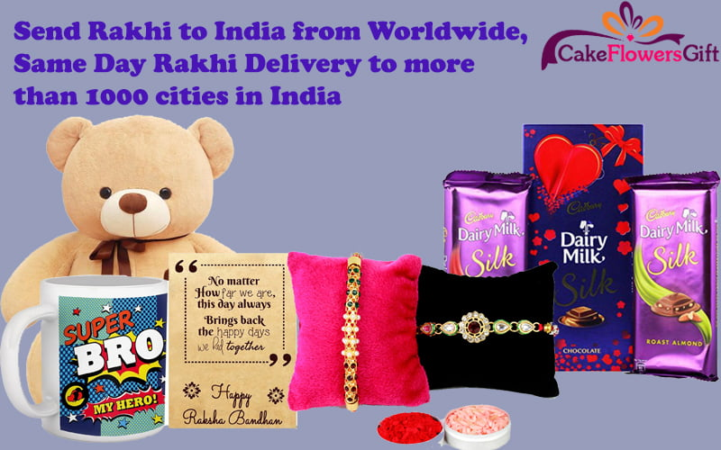 Send Rakhi to India from Worldwide, Same Day Rakhi Delivery to more than 1000 cities in India