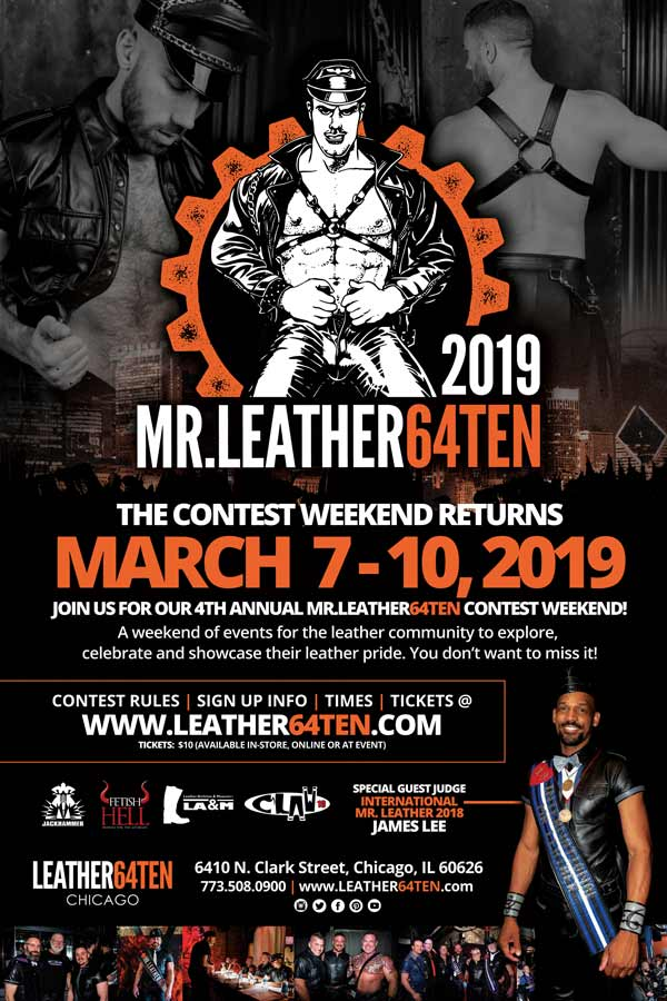 Fourth Annual MR.LEATHER64TEN Contest To Be Held in Chicago, March 9, 2019!