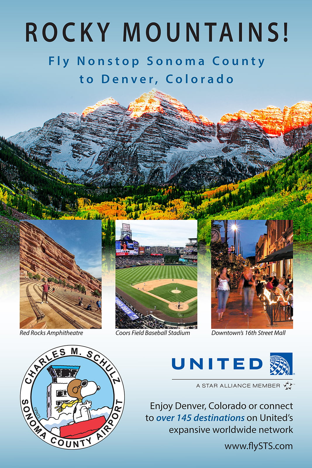 STS Celebrates Inaugural United Airlines Flights to and From Denver, Colorado on Friday, March 8