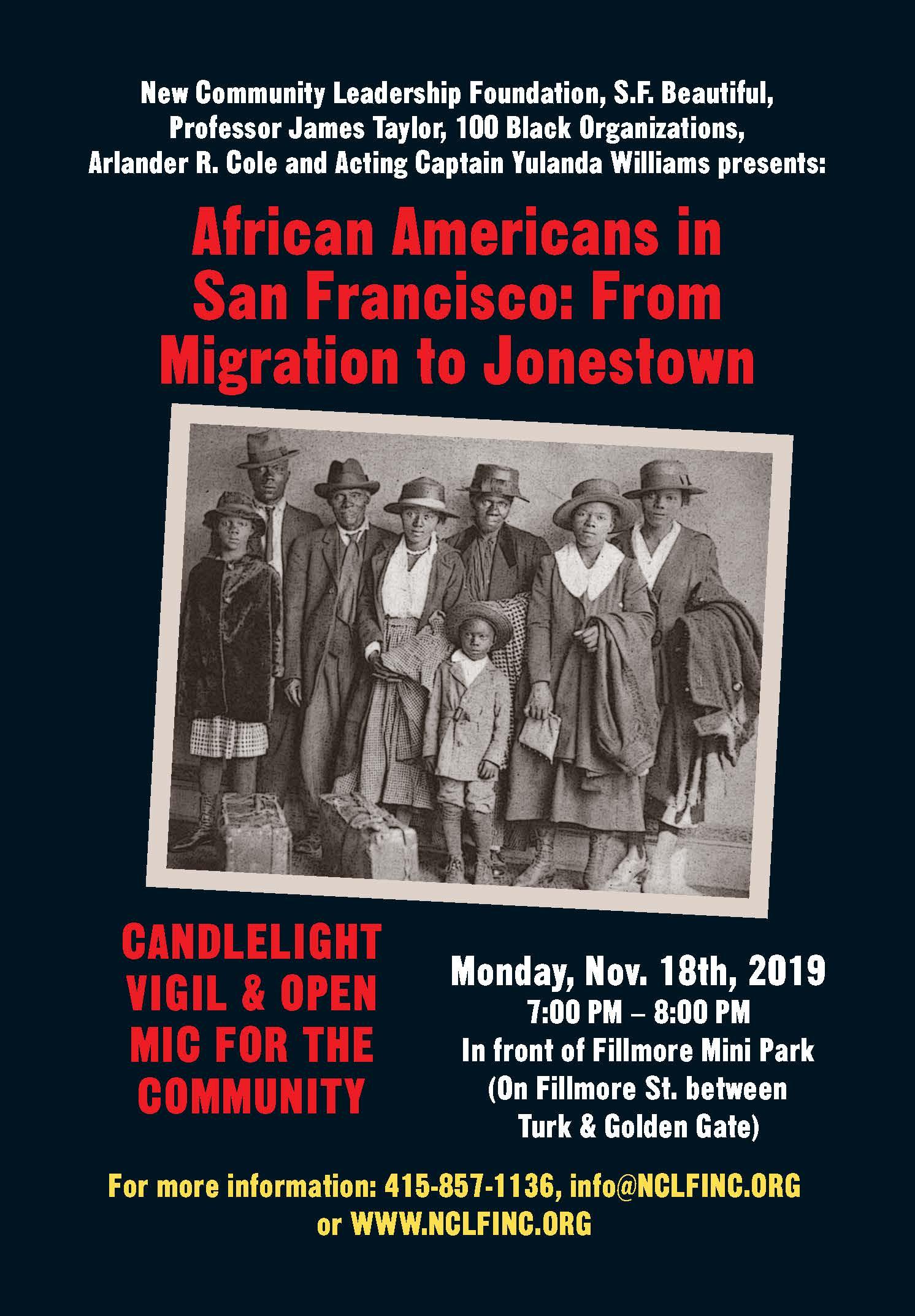 The Fillmore Gathers to Remember Jonestown- November 18, 2019