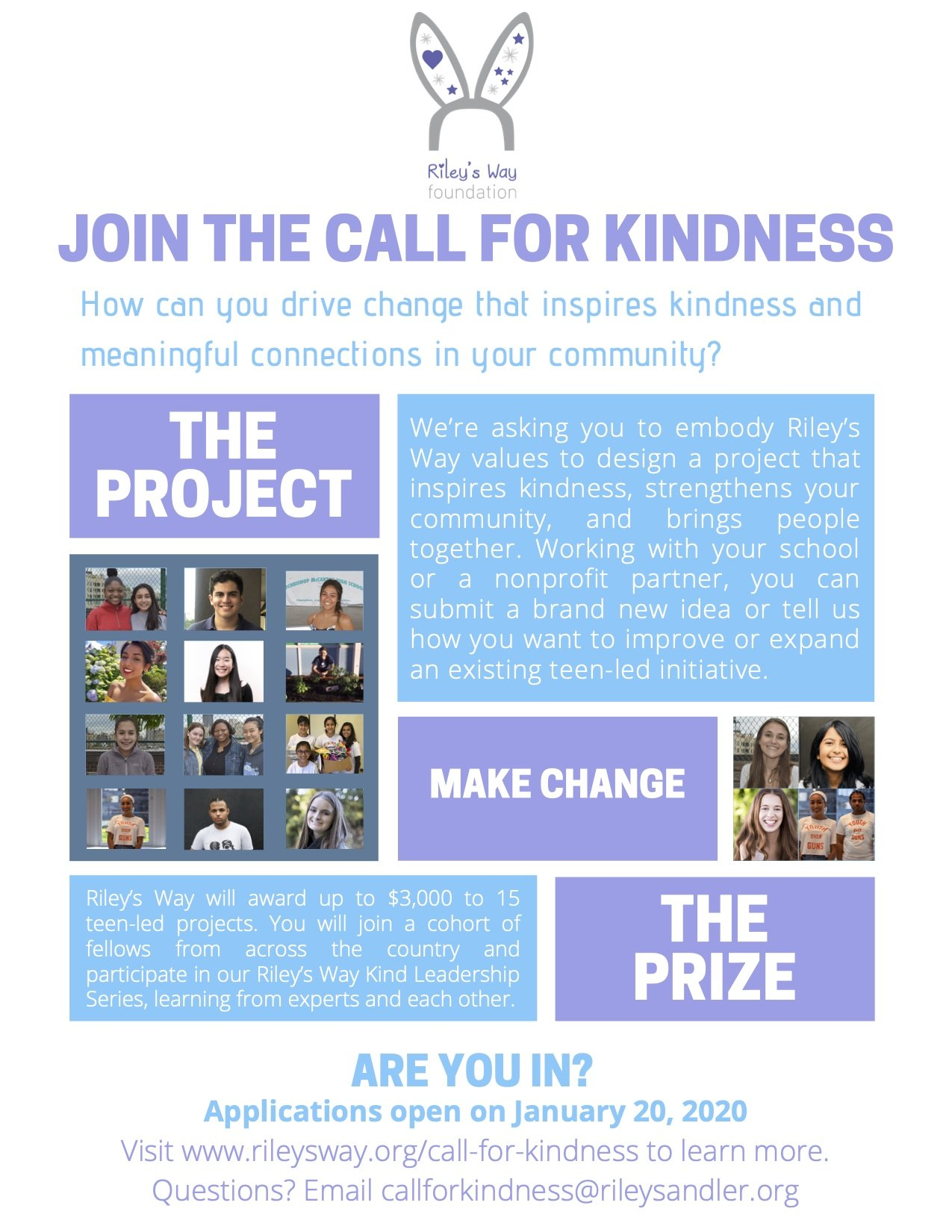 Calling All Teens Who Want to Make a Difference: Riley's Way Foundation Announces the Call for Kindness