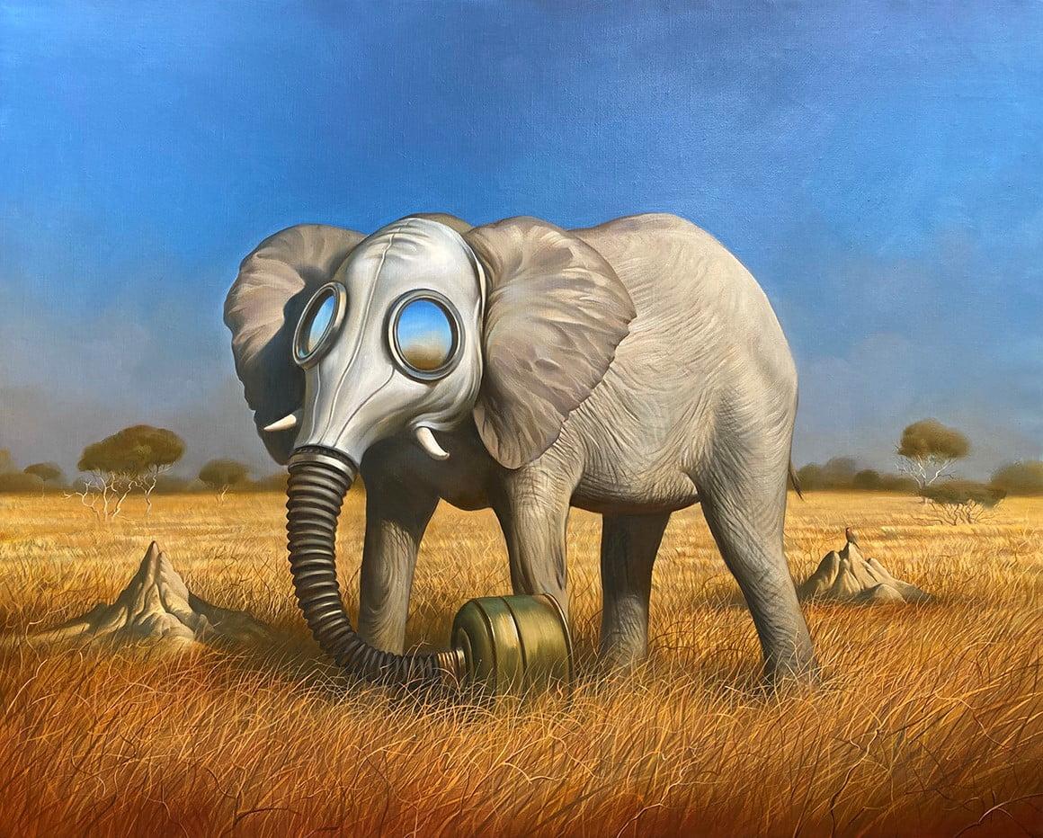 Vladimir Kush Presents His New Original Painting 'New African Mask'