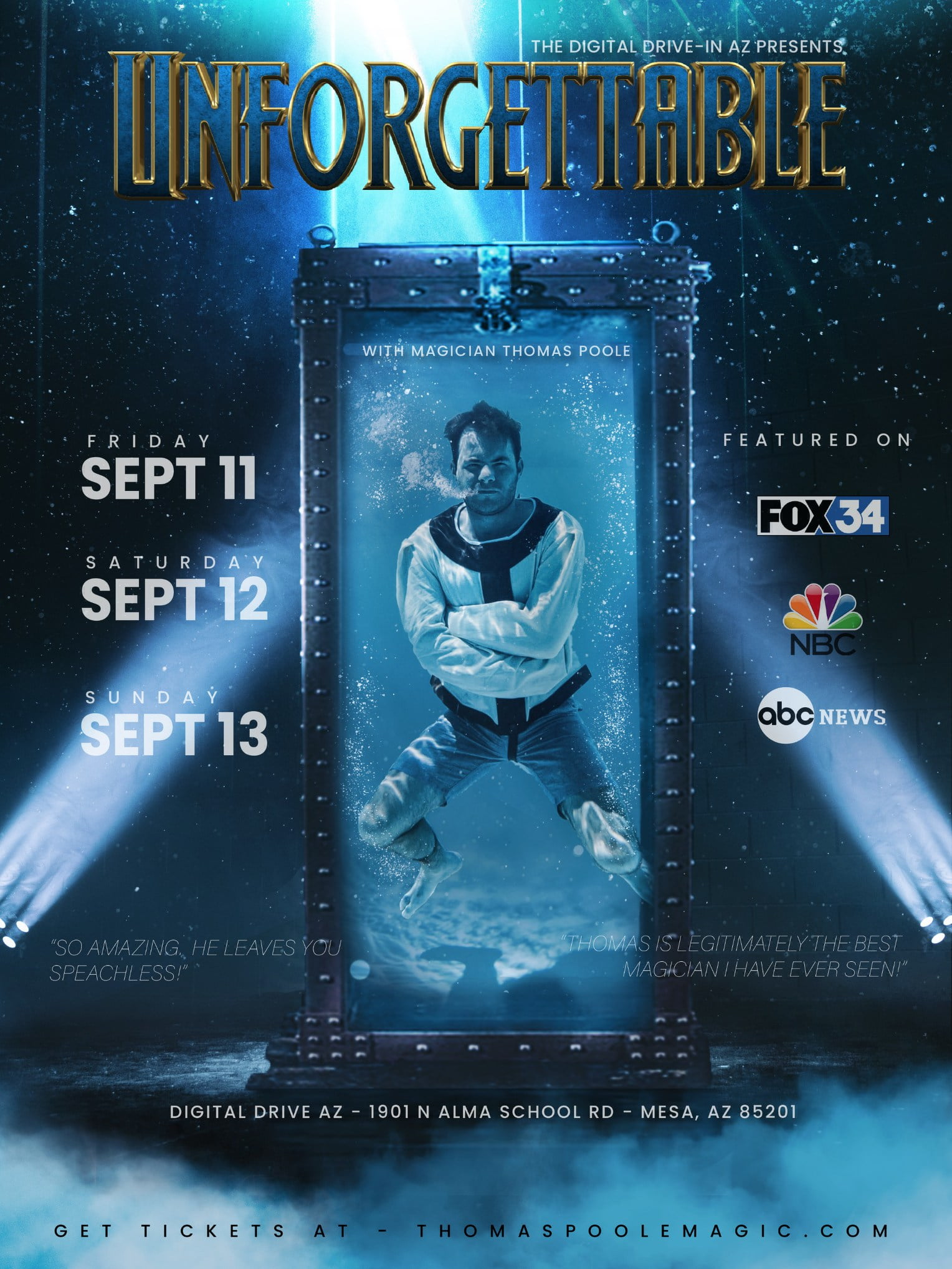 'UNFORGETTABLE': Magician Thomas Poole Set to Unveil Harry Houdini-Inspired Underwater Escape at Mesa's Digital Drive-in on Sept. 11-13