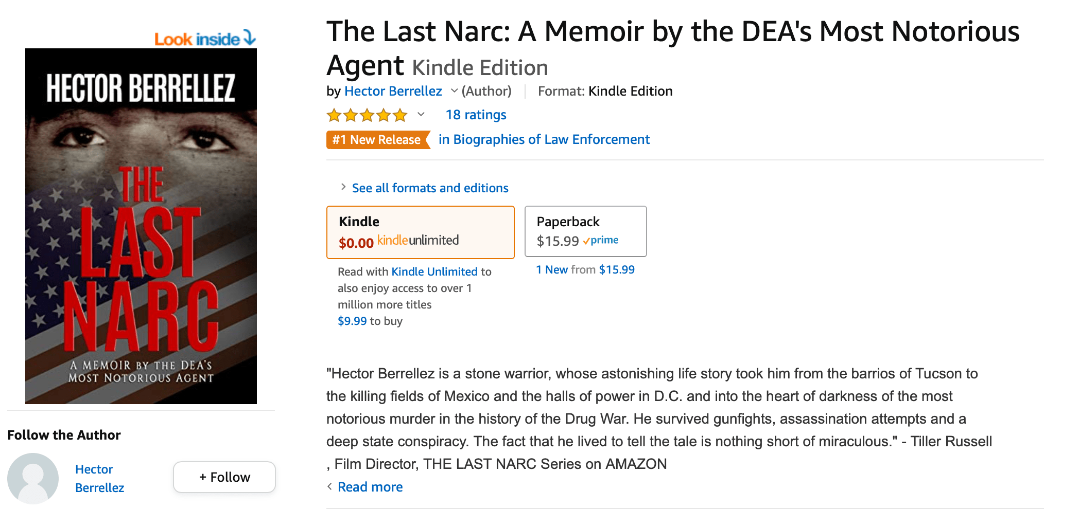 DEA Agent's Book Releases at #1 on Amazon