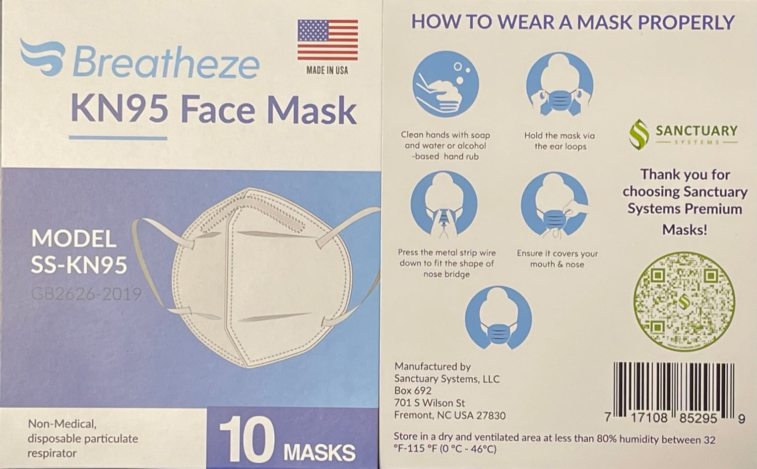 Sanctuary Systems, LLC Announces Availability of Breatheze SS-KN95 Masks