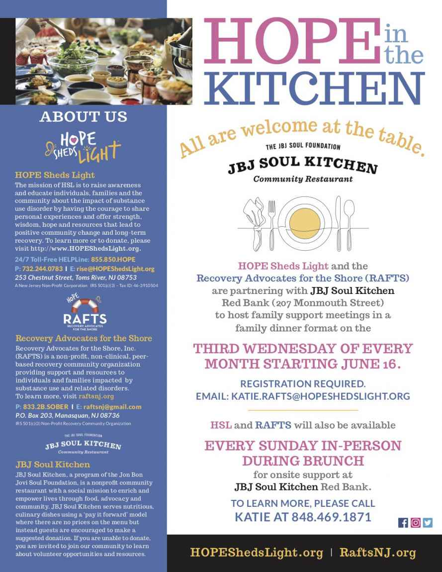 HOPE Sheds Light & Recovery Advocates for the Shore partner with JBJ Soul Kitchen
